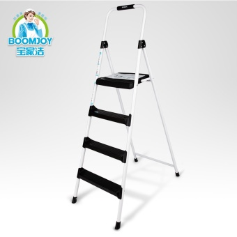 Harga Bao Jia Jie candy color Ladder Four step household ladder can be folding ladder word ladder can be retractable ladder