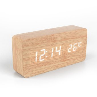 Harga Upscale exquisite solid wood led alarm clock voice electronic clock bedside clock ikea minimalist fashion style wooden clock