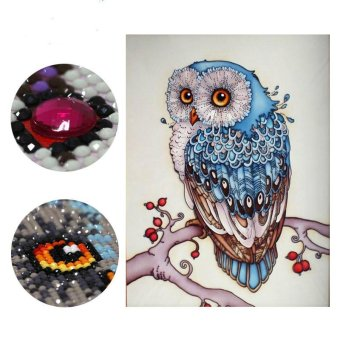 Harga 30x45cm Owl Diamond Embroidery Animal 5D Diamond Painting Cross Stitch Diamond Mosaic Needlework - intl