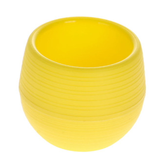 Harga Mini Colorful Plastic Flower Planter Pot Home Office Desktop (Yellow)