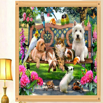 Harga DIY 5D Diamond Embroidery Cat Dog Animal Diamond Painting Cross Stitch Kits - intl