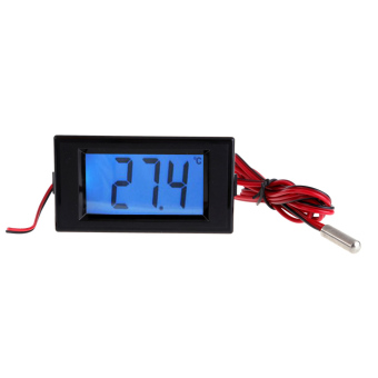 Harga Digital Blue LCD Thermometer Temperature Panel Meter With Probe Sensor