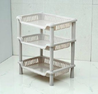 Harga Kitchen Bathroom 3 Layers Rectangle Storage Rack Shelf