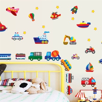 Harga Cars Train Motor Bike Ship Transportation Wall Stickers for Kids Room Decorations Decals Wall Art Children Sticker 7212. 5.5 - intl