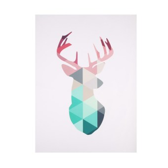 Harga Geometric Deer Head Canvas Art Print Poster Pictures