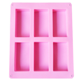 Harga Pink geometry rectangle handmade soap mould soap silicone mold 6 even brick 8x5.5x2.5