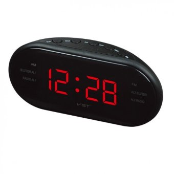Harga MOON STORE LED Alarm Clock Radio Digital AM/FM Radio (Black,EU Plug) - intl