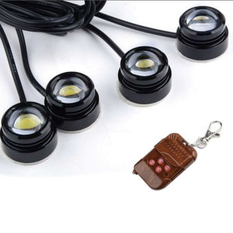Harga 4 pcs LED Eagle Eye Knight Night Lighting DRL Flashing Lights Lamp + Remote AP - Intl