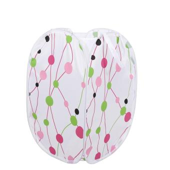 Harga Portable Foldable Printed Laundry Basket Clothes Storage Hamper Dots - intl