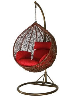 Harga Amber Initial Coffee Rattan Swing Chair with Red Cushion Cover
