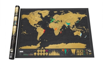 Harga 825*594 mm Travel Edition Scratch Map of the World (Black,Gold )