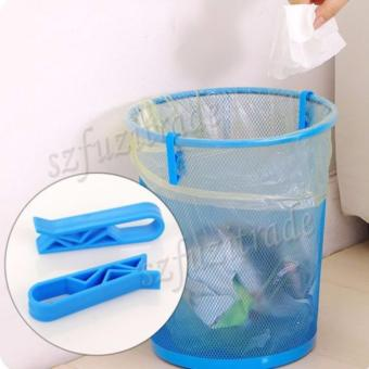 Harga 2×? Kitchen Garbage Can Waste Lock Clip Holder Clips Office Home Bin Trash Bag - Int'L