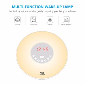Harga SAVFY Wake-up Light LED Sunrise Simulation Alarm Clock 6 wake-up sounds FM Radio Touch Control