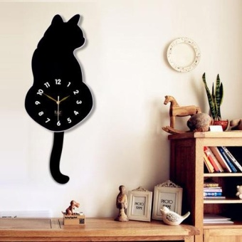 Harga New Arrival Cartoon Cute Cat Wall Clock Mute Children Bedroom Wall Clock - intl