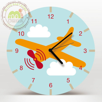 Harga Fashion children's room cartoon airplane wooden decorative wall clock round clock mute creative cute pendant watches