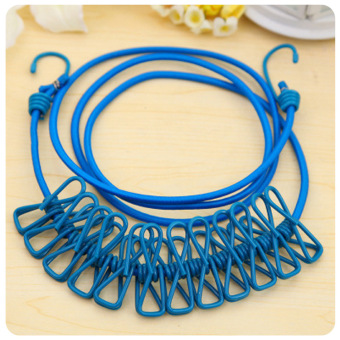 Harga Creative travel portable elastic rope 12 rope clip hangers clothespin color slip clothesline windproof stretch