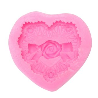 Harga Heat-resistant 3D Heart Love Rose Shape DIY Handmade Bake Silicone Mold (Pink) - intl