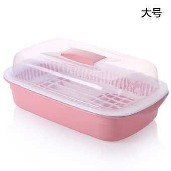 Harga Built-In Shelf Cupboards Plastic Kitchen Lek Yuen Water Bowl With Cover Admission Into The Dish Racks , Large Pink - intl