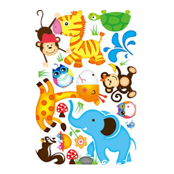 Harga Cute animal wall stickers cartoon removable wall stickers children's room nursery bedroom living room decoration
