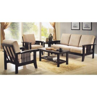 Harga Nova 330 3+1+1 Wooden Sofa Set with Cushions (FREE DELIVERY)