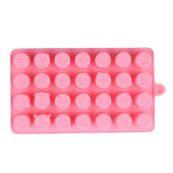 Harga 28-even Emoji Expression Smiling Face Cake Decorating Tool Mould(Pink) - intl