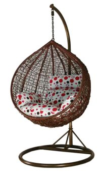 Harga Amber Initial Coffee Rattan Swing Chair with Polka Dot Cushion Cover
