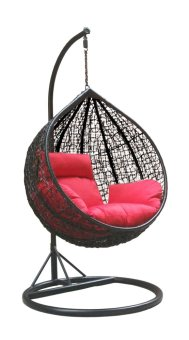Harga Amber Initial Black Rattan Swing Chair with Red Cushion