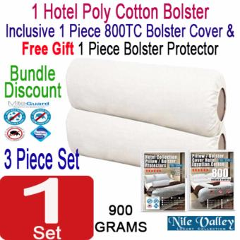 Harga Nile Valley's Hotel Collection Poly Cotton Bolster + 1 Bolster Cover + 1 FREE Protector