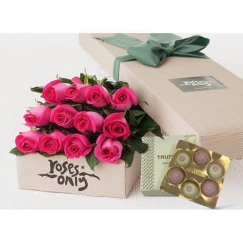 Harga 12 Bright Pink Roses + Teuscher Rose Truffles Gift Box