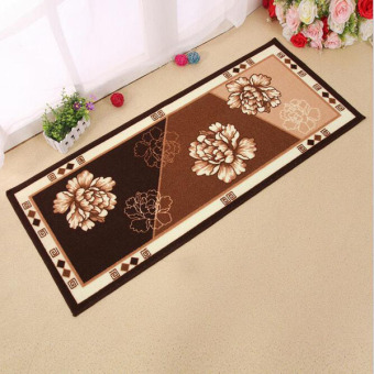 Harga High Quality Anti-slip Floor Mat Flowers Printed Long Kitchen Bathroom Carpet Water Absorbent Area Rug Living Room Decor ( Coffee ) 50 X 120cm