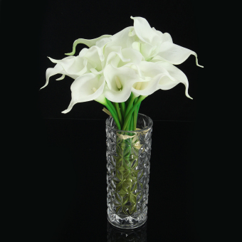Harga 20 Heads Wedding Flower Latex Real Touch Silk Calla Lily Flower Wedding Decor - intl