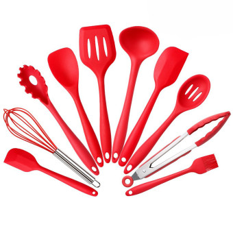 10Pcs Silicone Heat Resistant Kitchen Cooking Utensils Non-Stick Baking Tool (Red) - Intl