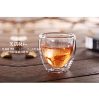 New 250ML Handwork Heat Resistant Double Wall Glass Kungfu Tea Drink Cup Insulated Clear Glass - intl
