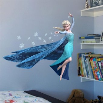 Harga Cartoon QUEEN ELSA Wall Decal Removable WALL STICKER Wall Art for Children's Kids Rooms Bedroom - intl