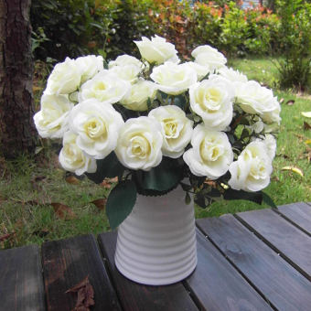 Harga Artificial False Rose Silk Flowers 12 Flower Head Wedding Garden Decor NEW