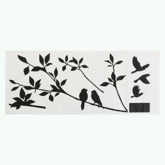Harga Tome Bedroom Tree and Bird Wall Stickers Black