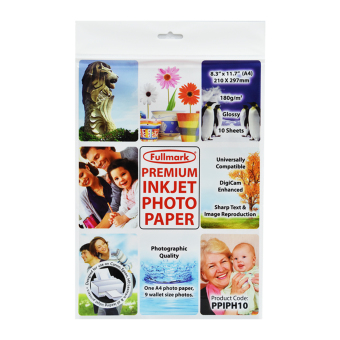 Harga Fullmark Premium Inkjet Photo Paper, A4 size, 21cm X 29.7cm each (1 Pack, 10 sheets per pack) - compatible with HP, Canon, Epson, Lexmark and all leading inkjet printers