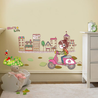 Harga Dormitory bedroom living room wallpaper background wallpaper adhesive wall sticker romantic flower girl room decor stickers can be removed
