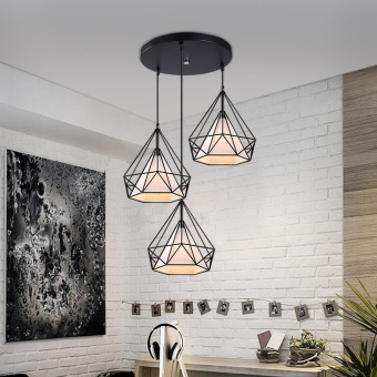Harga LED Pendant Light-Black Three Heads With E27 Light Blub DA097 Modern Industry Creative Bar Lamp