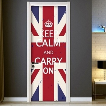 Harga ★ Whole-Door Vinyl Self Adhensive Sticker (Keep Calm (flag)★Self Adhesive wallpaper Door sheet/ reform / DIY Home decorative renovation Door Sticker★ Bedroom Living Room House★ Keep Calm