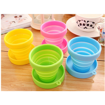 Harga 4pcs/set Foldable Travel Silicone Cup