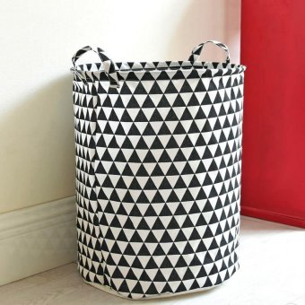 Harga Open Storage Basket for Clothes Toys Folding Laundry Hamper Printing Storage Bucket 35*45CM - intl