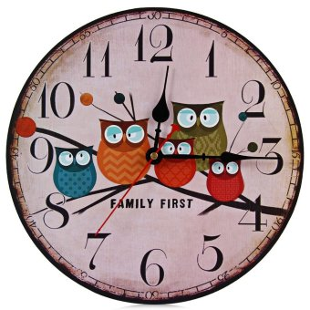 Harga Silent Round Wall Clocks Decorative Owl Wooden Clock - intl