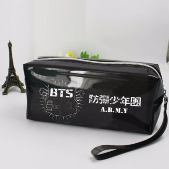 Harga BTS Bangtan Boys KPOP Plastic Pencil Box Admission Package Student Stationery Bag(Black) - intl