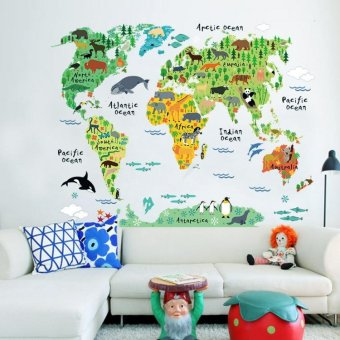 Harga Foreign trade of the original single cartoon animal children's room sticker world map office living room sofa bedroom wall stickers decorative stickers