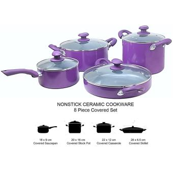 Harga NONSTICK Cookware Set of 8PC -CHEZ (AUBERGINE PURPLE)