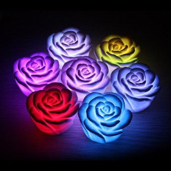 Harga LED Romantic Rose Flower Color changed Lamp Light F - intl