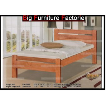 Harga BFF3603-WB Solid Wooden Bed (Cherry) – Single