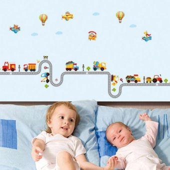Harga Cartoon Car and Ballon Kids Room DIY Waterproof Wall Sticker - intl