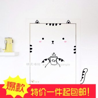 Harga Glass door stickers creative cartoon cat warm bedroom children's room wall stickers decorative wall stickers can be removed
